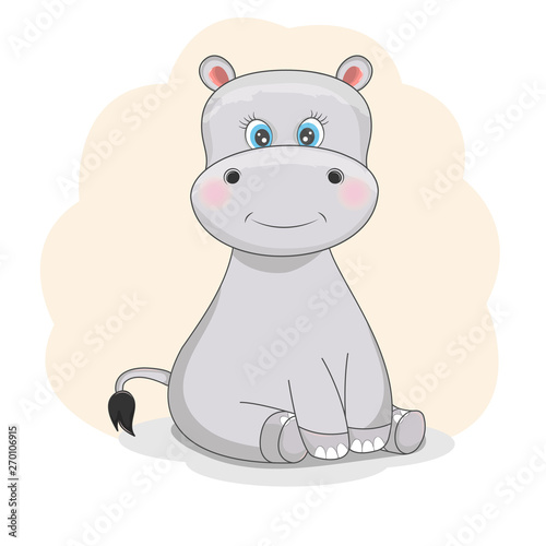 Flat style of a cute funny hippo. Isolated objects on a white background.