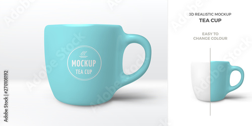 Photo Vector 3D realistic mockup of ceramic blue coffee mug