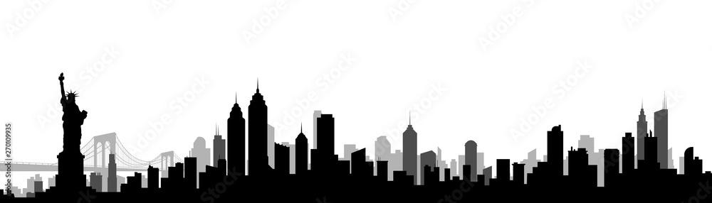 Fototapeta New York City Skyline Silhouette Vector Illustration