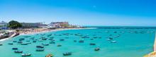 Boats Docked In The Spanish Bay Of Cadiz