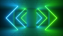 3d Render, Green Blue Neon Light, Abstract Modern Background, Glowing Arrows Lines, Laser Rays, Fashion Stage, Vibrant Colors, Empty Room, Tunnel, Corridor, Night Club Interior