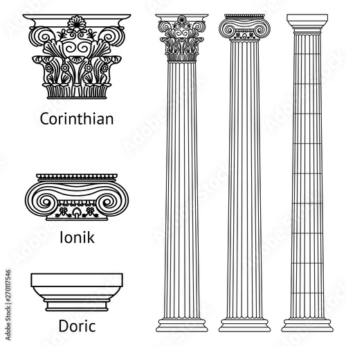 A set of antique Greek historical columns and capitals for them: the Ionic, Doric and Corinthian capitals Fototapete