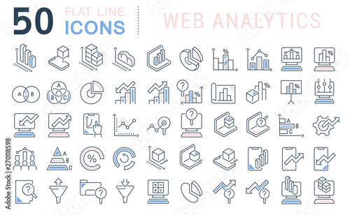 Set Vector Line Icons of Web Analytics Wallpaper Mural