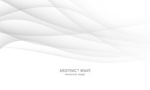 Abstract White Background With Smooth Gray Lines, Waves. Modern And Fashion. Gradient Geometric. Vector Illustration.
