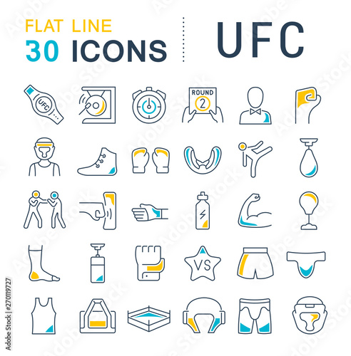 Set Vector Line Icons of UFC Canvas Print