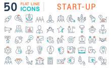 Set Vector Line Icons Of Startup