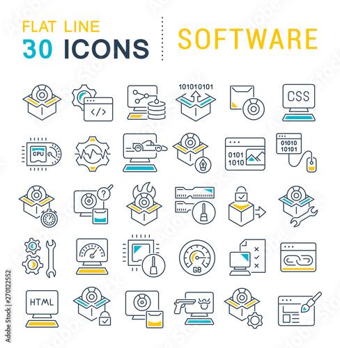 Cuadros en Lienzo Set Vector Line Icons of Software