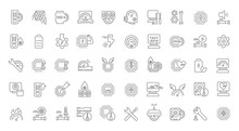 Set Vector Line Icons Of Overclocking