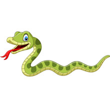 Cute Green Snake Cartoon On Wh...