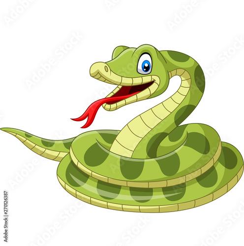 Cartoon green snake on white background Wallpaper Mural