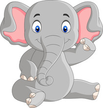 Cartoon Cute Baby Elephant Sit...