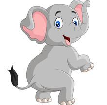 Cartoon Funny Elephant Isolate...