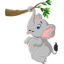Cartoon Funny Elephant Playing...