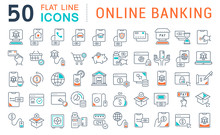 Set Vector Line Icons Of Online Banking