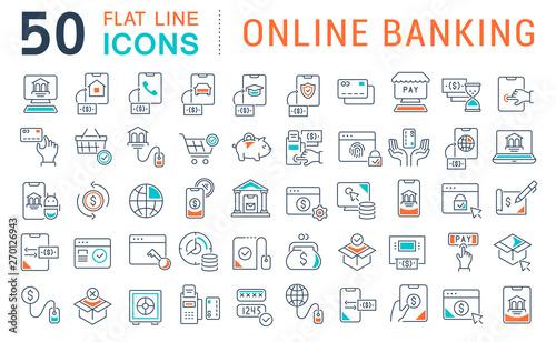 Fototapeta Set Vector Line Icons of Online Banking obraz