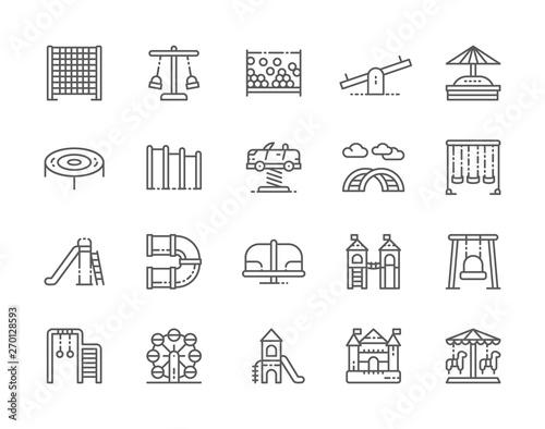 Set of Playground Line Icons Fototapeta