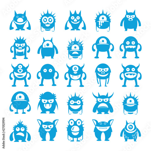 Poster Chambre d enfant blue monster character icons, cartoon set