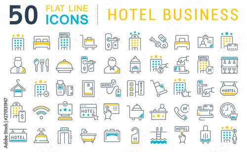 Fotografia  Set Vector Line Icons of Hotel Business