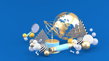 Golden Globe, Magnifying Glass, Binoculars And Sundial Among Colorful Balls On A Blue Background.-3d Rendering.