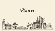 Hanoi Skyline Vietnam Hand Dra...