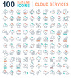 Set Vector Line Icons of Cloud Services