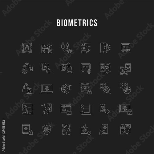 Photo Set Vector Line Icons of Biometrics