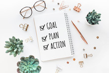 Goal,plan,action Text On Notep...
