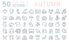 Set Vector Line Icons Of Autumn