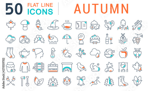 Fotografia Set Vector Line Icons of Autumn