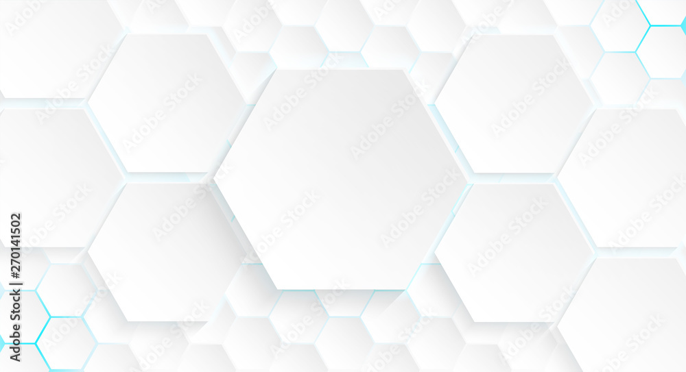 Fototapety, obrazy: Abstract. Hexagon white background , blue light and shadow. Vector.