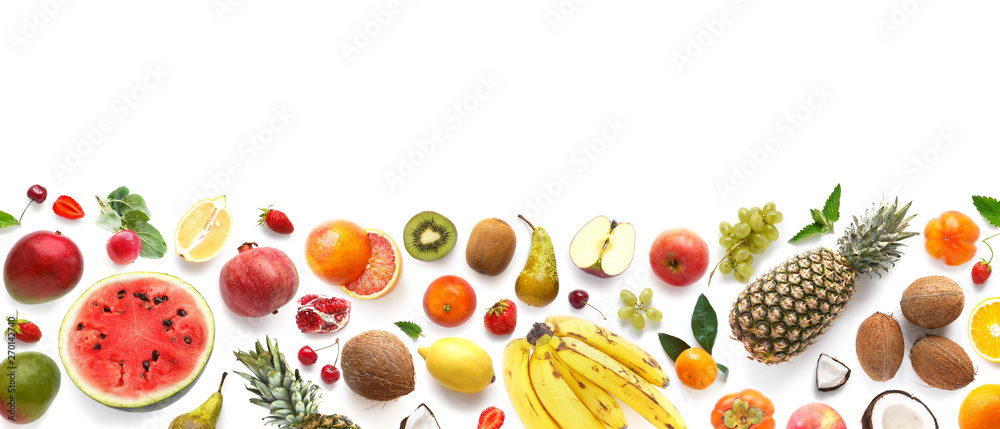 Fototapety, obrazy: Banner from various fruits isolated on white background, top view, creative flat layout. Concept of healthy eating, food background. Frame of fruits with space for text.