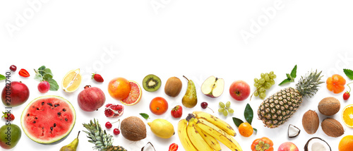 Banner from various fruits isolated on white background, top view, creative flat layout. Concept of healthy eating, food background. Frame of fruits with space for text.