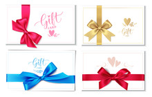 Set Of Wedding Invitation Design Template Isolated On White Background. Gift Card With Red, Blue, Golden Bow And Ribbon. Vector Illustratio
