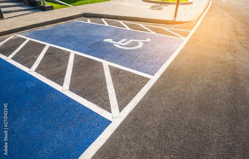Valokuva  handicapped sign reserved parking lot.