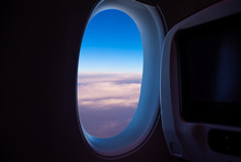 View From Plane Window To See The Sky.