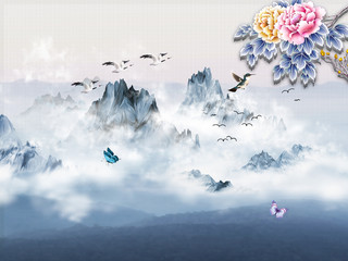 Panel Szklany 3D Landscape illustration, fog, mountains, gray sky, flying birds and butterflies