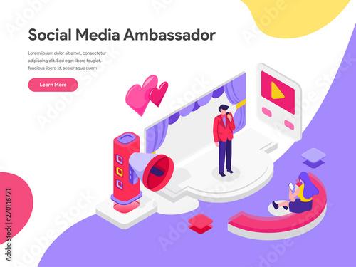 Landing page template of Social Media Ambassador Illustration Concept Wallpaper Mural