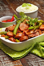 Quiabada, Dish With Okra And Fried Sausage