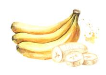 Bunch Of Ripe Bananas And Slic...