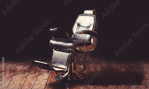 Barbershop armchair, modern hairdresser and hair salon, barber shop for men. Beard, bearded man. Stylish vintage barber chair. Professional hairstylist in barbershop interior. Barber shop chair.