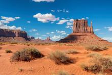 The Unique Landscape Of Desert In Monument Valley, Arizona, USA.