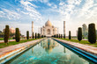 canvas print picture - Taj Majal at sunrise in Agra, India.