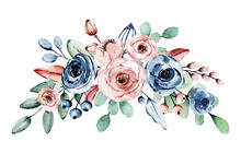 Watercolor Indigo And Dusty Pink Flowers Roses. Floral Clip Art. Perfectly For Printing Design On Invitation, Card, Wall Art And Other. Isolated On White Background.