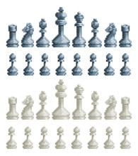Chess Pieces Set Icons In An 8...