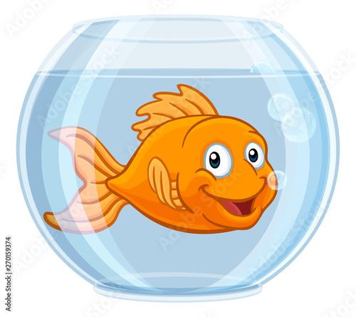 Fotografie, Obraz A goldfish in a gold fish bowl happy cute cartoon character