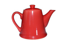 Red Teapot On Isolated White B...