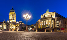 Concert Hall (Konzerthaus) And New Church (Deutscher Dom Or Neue Kirche) On Gendarmenmarkt Square At Night, Berlin, Germany