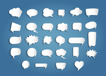 Paper Chat Cartoon Bubbles Shape And Word Box For Entering Text Message. Set Speech Bubbles Empty. Dialogue And Communication Bubble. Empty Balloon. Collection Modern Vector Clouds Isolated