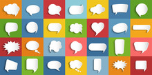 Collection Modern Vector Clouds Isolated. Paper Chat Cartoon Bubbles Shape And Word Box For Entering Text Message. Set Speech Bubbles Empty. Dialogue And Communication Bubble. Empty Balloon