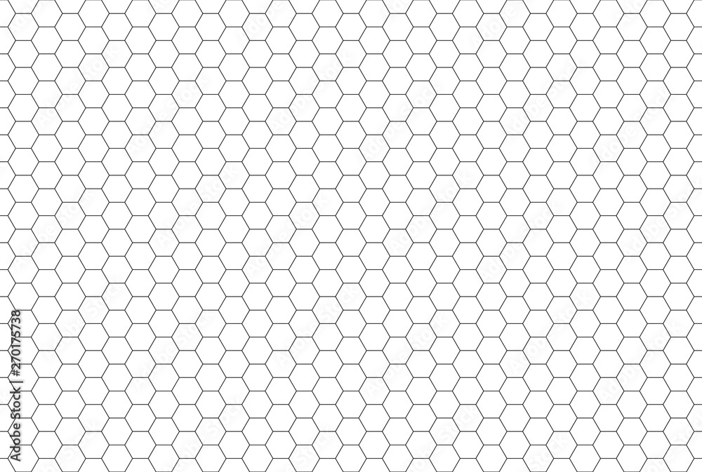 Fototapeta Black and white hexagon honeycomb seamless pattern
